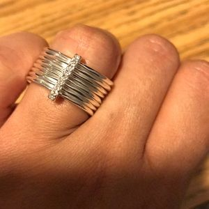 Multilayer silver tone ring